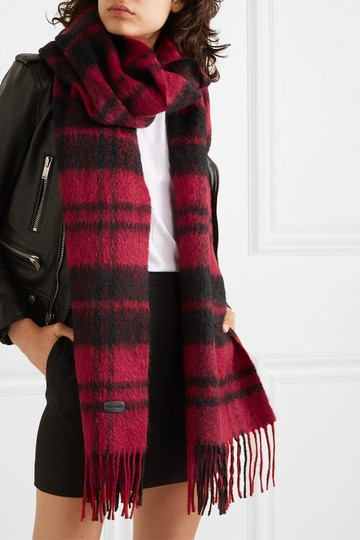 Saint Laurent Fringed checked wool-blend scarf Image 1