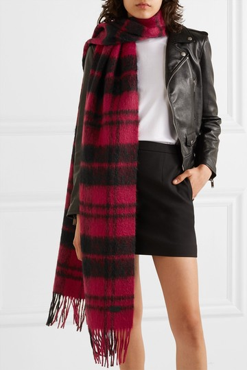 Saint Laurent Fringed checked wool-blend scarf Image 2
