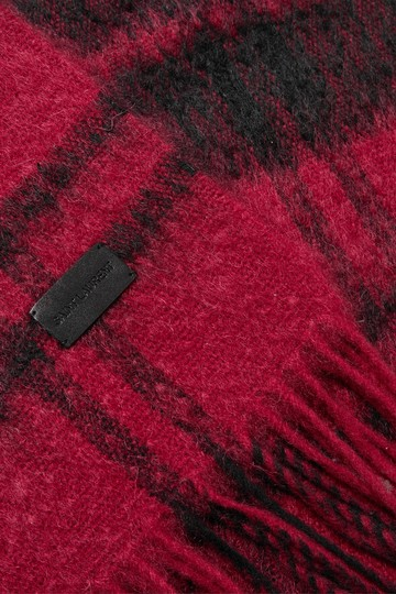 Saint Laurent Fringed checked wool-blend scarf Image 3