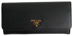 Prada Prada Black/ Red Pattina Leather Long Wallet W ID Holder