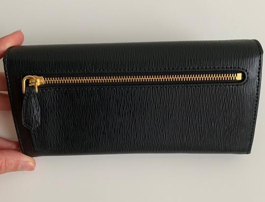 Prada Prada Black/ Red Pattina Leather Long Wallet W ID Holder Image 1