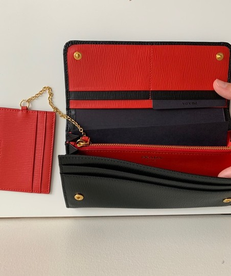 Prada Prada Black/ Red Pattina Leather Long Wallet W ID Holder Image 2