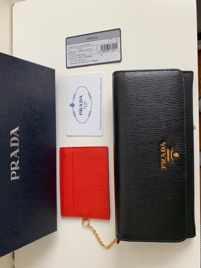Prada Prada Black/ Red Pattina Leather Long Wallet W ID Holder Image 5