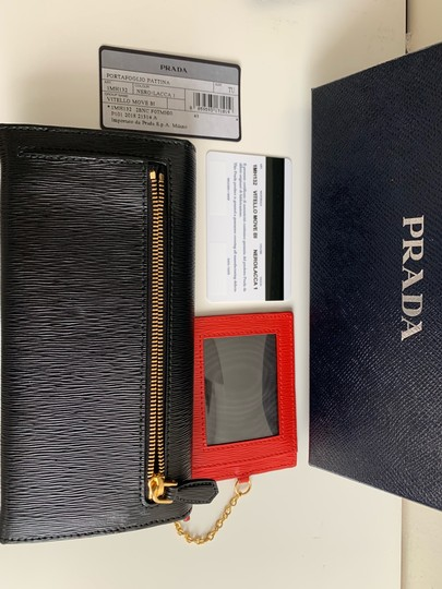 Prada Prada Black/ Red Pattina Leather Long Wallet W ID Holder Image 6