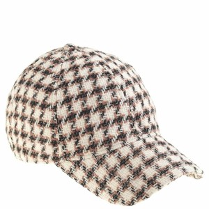 J.Crew J.Crew Beige Houndstooth Baseball Cap In Women's Wool New Hat