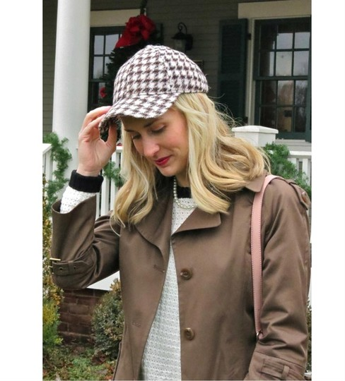 J.Crew J.Crew Beige Houndstooth Baseball Cap In Women's Wool New Hat Image 1