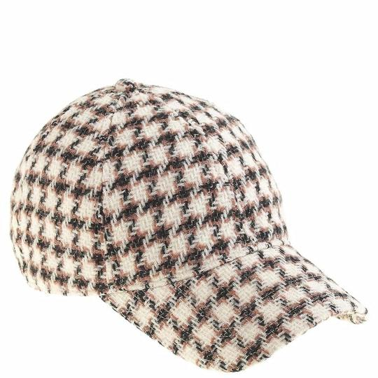 J.Crew J.Crew Beige Houndstooth Baseball Cap In Women's Wool New Hat Image 2