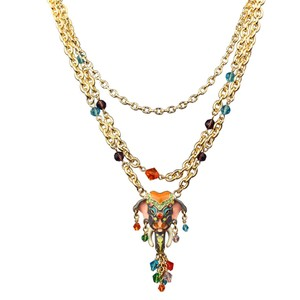 Ritzy Couture by Esme Hecht Royal Maharaja Elephant Multi Chain Dangle Necklace (Goldtone)