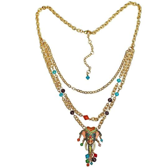 Ritzy Couture by Esme Hecht Royal Maharaja Elephant Multi Chain Dangle Necklace (Goldtone) Image 1