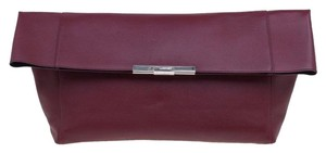 Céline Calfskin Leather Suede Silver Hardware Red Clutch