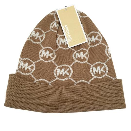 MICHAEL Michael Kors MICHAEL Michael Kors Beanie Knit Camel Brown Hat New Image 0