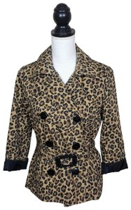 H&M Cheetah Fall Leopard Buttons Trench Coat