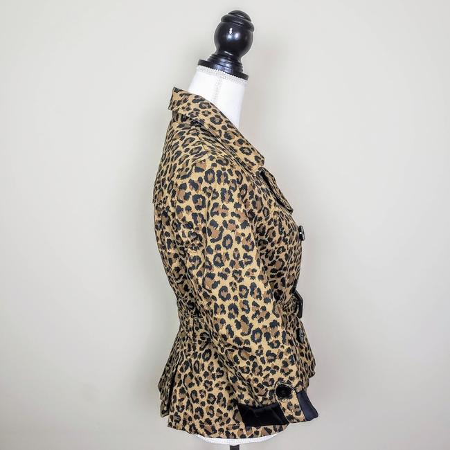 H&M Cheetah Fall Leopard Buttons Trench Coat Image 1