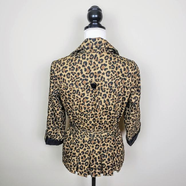 H&M Cheetah Fall Leopard Buttons Trench Coat Image 2