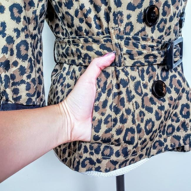 H&M Cheetah Fall Leopard Buttons Trench Coat Image 4