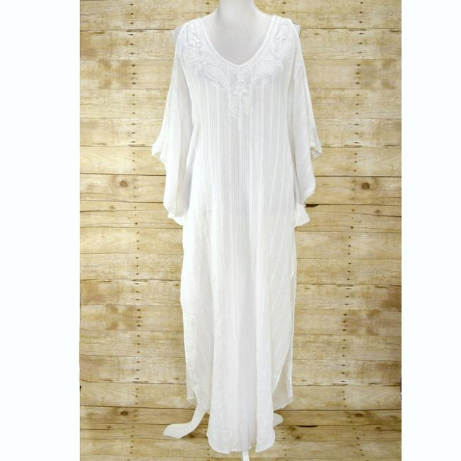 White Maxi Dress by Calypso St. Barth Coverup Boho Resort Embroidered Cold-shoulder Image 2