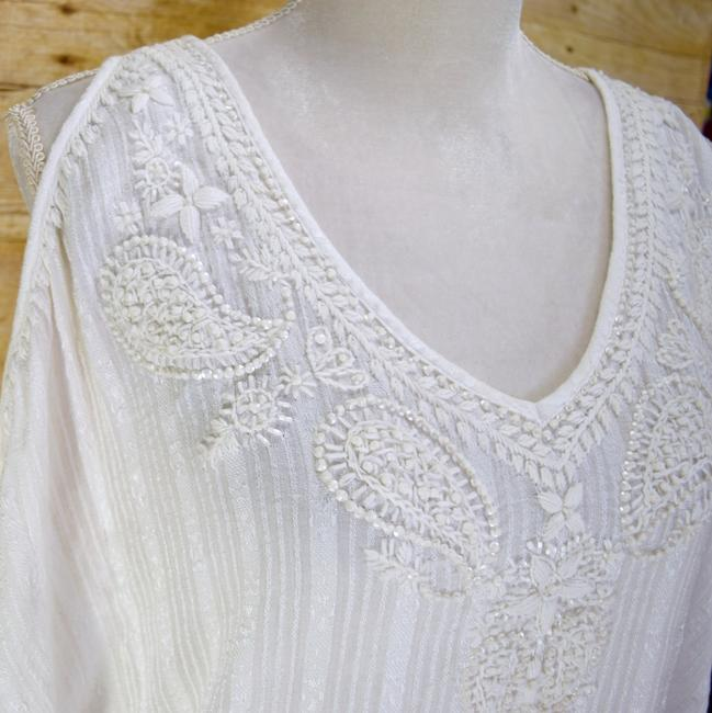 White Maxi Dress by Calypso St. Barth Coverup Boho Resort Embroidered Cold-shoulder Image 5