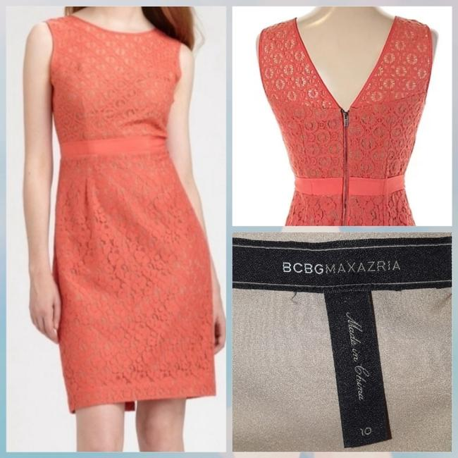 Preload https://img-static.tradesy.com/item/25951586/bcbgmaxazria-coral-alice-lace-sheath-short-cocktail-dress-size-10-m-0-0-650-650.jpg