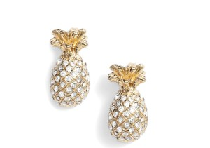 Kate Spade NWT KATE SPADE BY THE POOL PINEAPPLE PAVE STUDS EARRINGS W DUST BAG