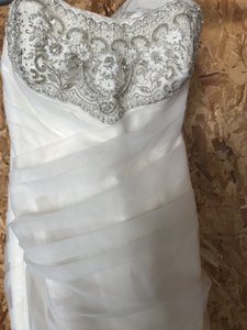 Priscilla of Boston Ivory Silk and Tulle Platinum Collection Formal Wedding Dress Size 4 (S)
