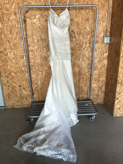Priscilla of Boston Ivory Silk and Tulle Platinum Collection Formal Wedding Dress Size 4 (S) Image 1