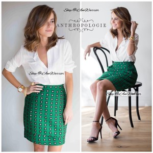 Anthropologie Mini Skirt emerald green