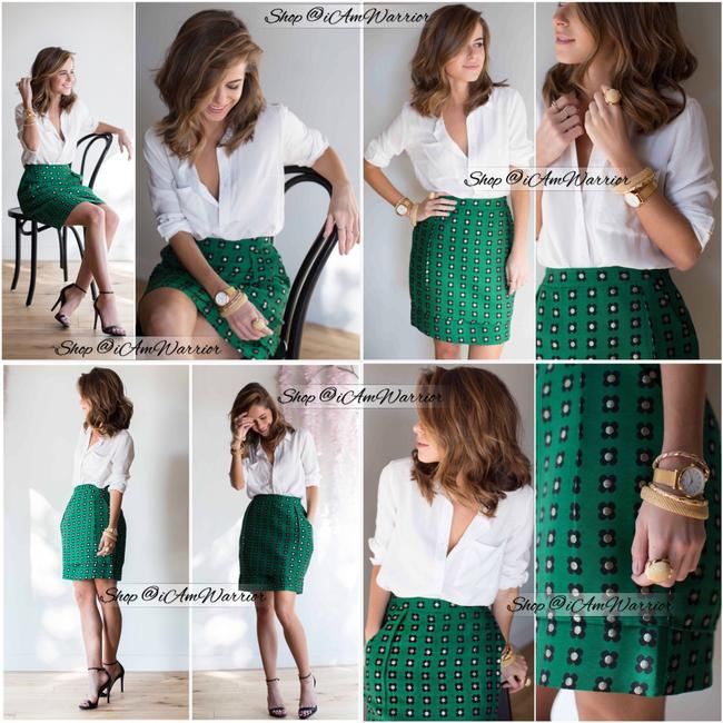 Anthropologie Mini Skirt emerald green Image 1