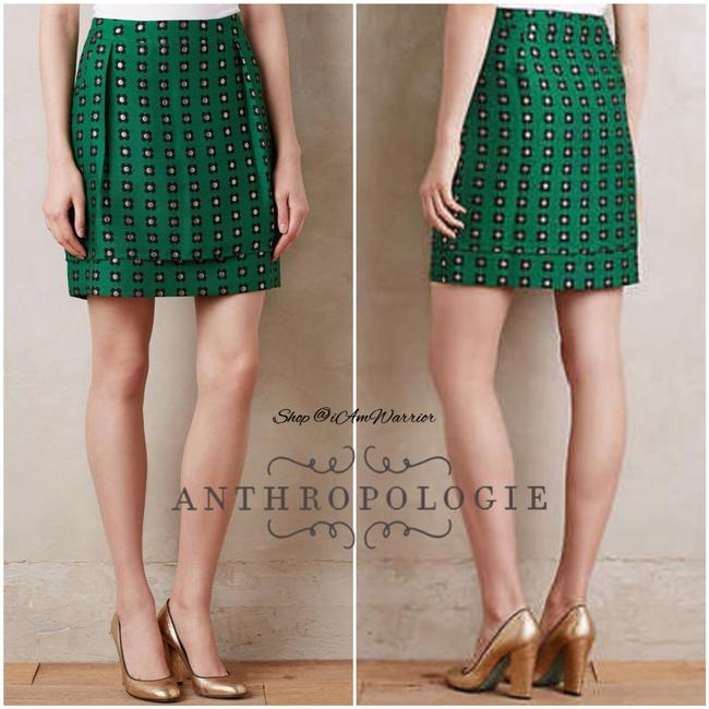 Anthropologie Mini Skirt emerald green Image 3