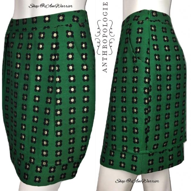 Anthropologie Mini Skirt emerald green Image 7