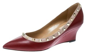 Valentino Leather Pointed Toe Studded Wedge Red Pumps