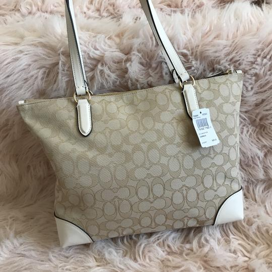 Coach Tote in Chalk Khaki White Image 1