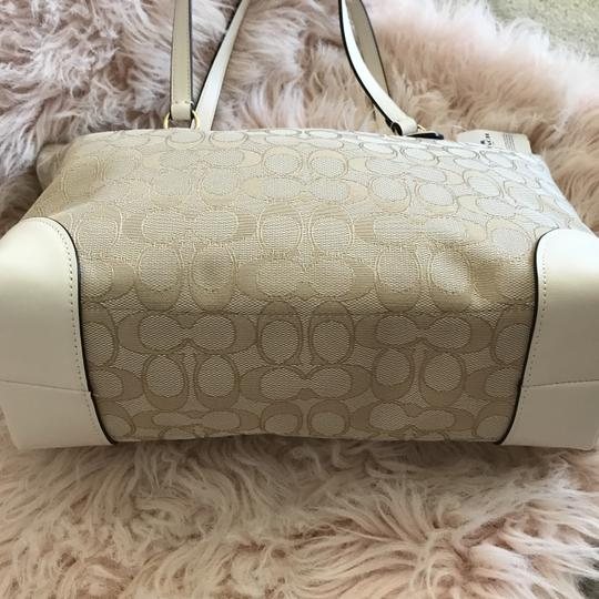 Coach Tote in Chalk Khaki White Image 2
