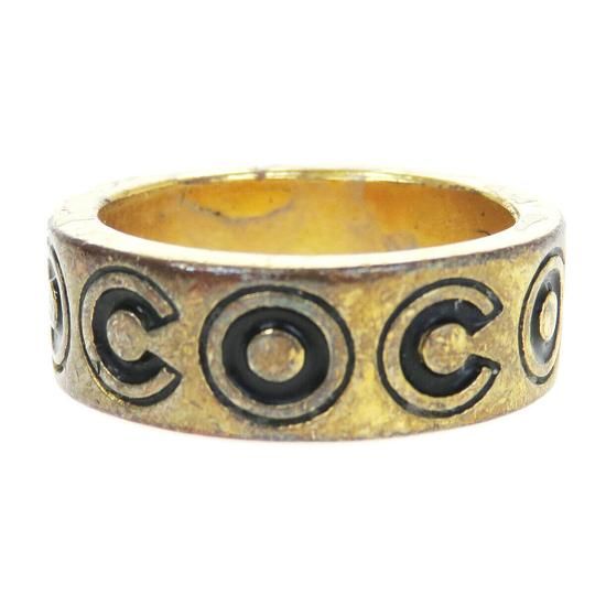 Chanel Auth CHANEL CC Logo Ring Gold-tone Black Size 6.5 01A France Accessory Image 1
