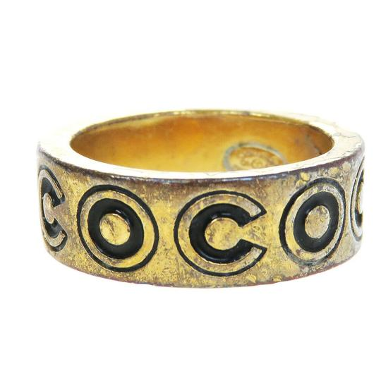 Chanel Auth CHANEL CC Logo Ring Gold-tone Black Size 6.5 01A France Accessory Image 2