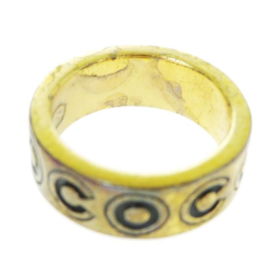 Chanel Auth CHANEL CC Logo Ring Gold-tone Black Size 6.5 01A France Accessory Image 4