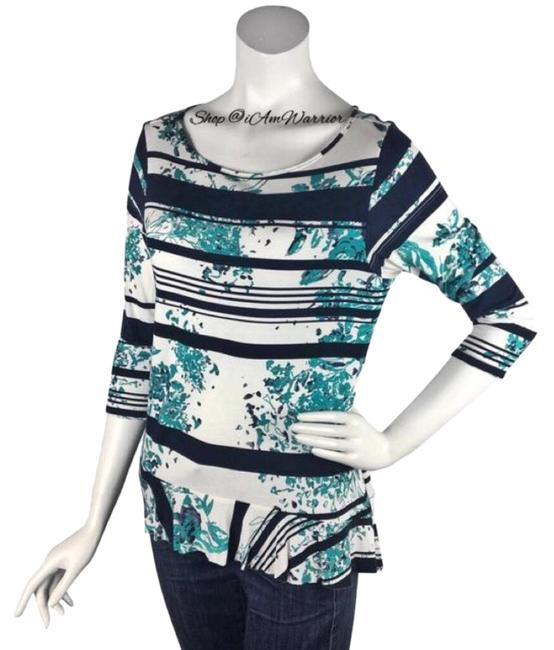 Preload https://img-static.tradesy.com/item/25951674/anthropologie-blue-teal-ivory-weston-wear-stretch-print-peplum-tee-shirt-size-8-m-0-7-650-650.jpg