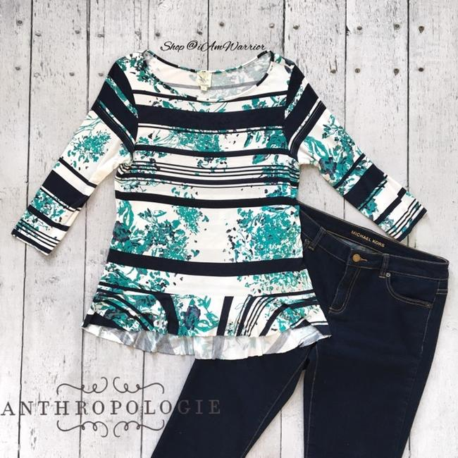 Anthropologie T Shirt blue, teal, ivory Image 3