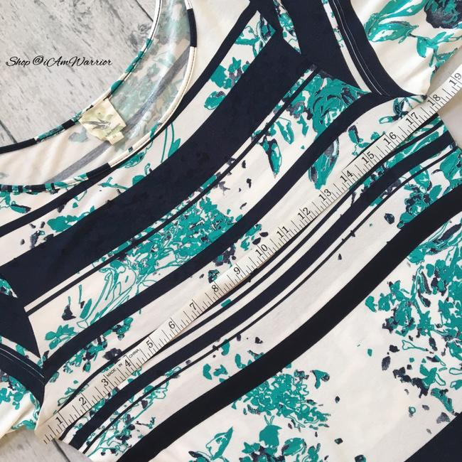 Anthropologie T Shirt blue, teal, ivory Image 5