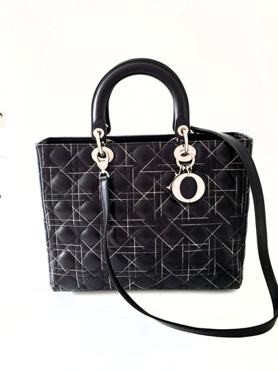 Dior Two-tone Leather Valentino Lady Tote in Black Image 1