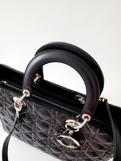 Dior Two-tone Leather Valentino Lady Tote in Black Image 3