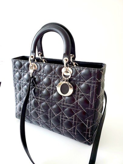 Dior Two-tone Leather Valentino Lady Tote in Black Image 4