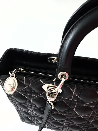 Dior Two-tone Leather Valentino Lady Tote in Black Image 5