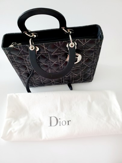 Dior Two-tone Leather Valentino Lady Tote in Black Image 6