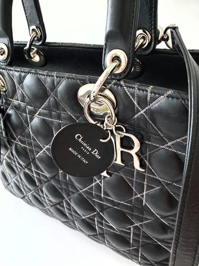 Dior Two-tone Leather Valentino Lady Tote in Black Image 8