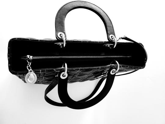 Dior Two-tone Leather Valentino Lady Tote in Black Image 9