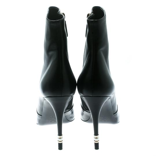 Chanel Leather Pearl Embellished Ankle Black Boots Image 3