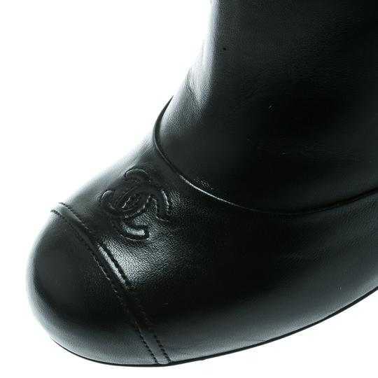 Chanel Leather Pearl Embellished Ankle Black Boots Image 5