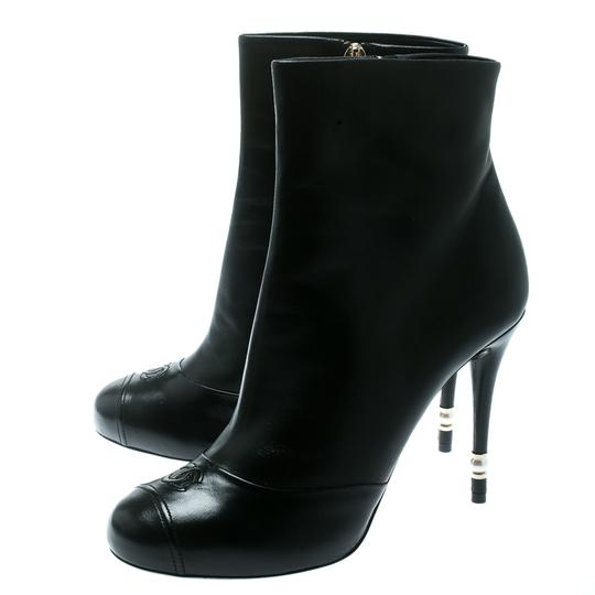 Chanel Leather Pearl Embellished Ankle Black Boots Image 6