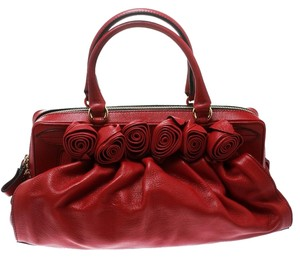 Valentino Leather Floral Gold Hardware Satchel in Red