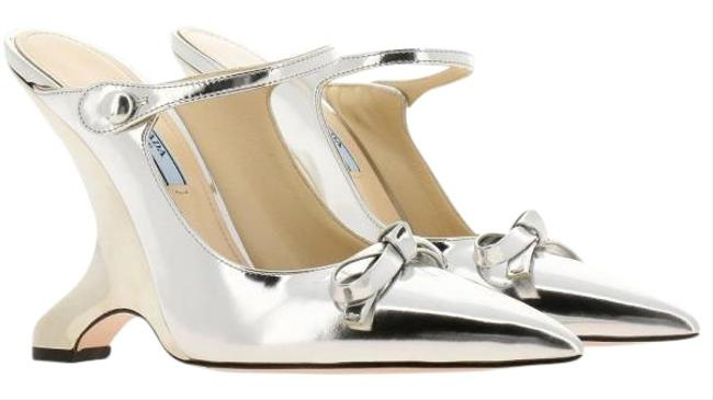 Item - Silver Fin Heel Mule Bnib Pumps Size EU 37 (Approx. US 7) Regular (M, B)